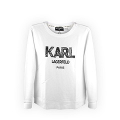 Karl Lagerfeld Logo Zip Funnel Neck Sweatshirt