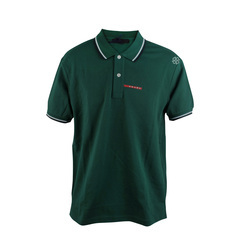 Prada Green Abete Signature Stripe Polo Shirt Size L