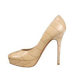 Jimmy Choo Mock Croc Leather Platform Nude