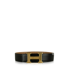 Hermes Reversible H Constance Black and Gold Leather Belt