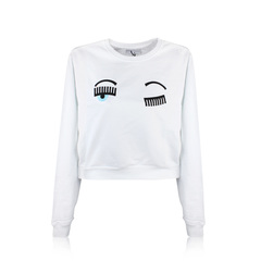 Chiara Ferragni Flirting Sweatshirt Eyes Bianco Sweaters