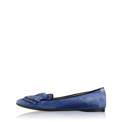 Prada Flat Navy Suede With Bow