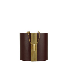 Celine Glazing Cuff Glazed Leather with Metal Accents Bracelet