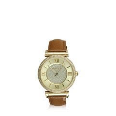 Michael Kors Catlin Champagne Crystal Pave Dial Leather Watch