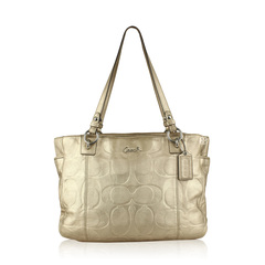 Coach Shoulder Bag Signature Gold Leather