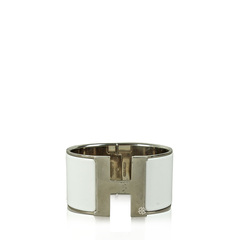 Hermes H Extra Wide Bracelet in White