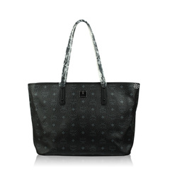 MCM Anya Black Top Zip Medium