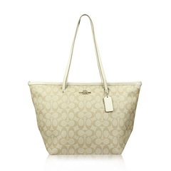 Coach Signature Zip Khaki/Chalk Coated Canvas Tote