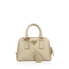 Prada Nude Saffiano Lux Leather Mini Promenade Bag