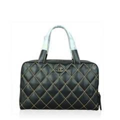 Chanel Brown Quilted Surpique Bowler Bag