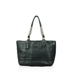 Coach Tote Bag Chain Leather Black