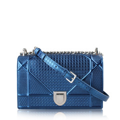 Christian Dior Diorama Blue Metallic Flap Bag