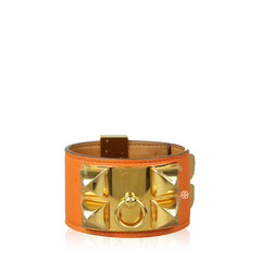 Hermes Collier De Chien Orange Bracelet