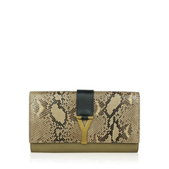 Saint Laurent Chyc Leather and Python Clutch