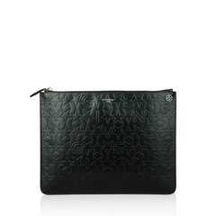 Givenchy Black Large Embossed Zip Pouch Black