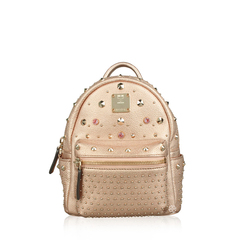MCM Bebe Boo Special Stark Studded Metallic Leather Backpack