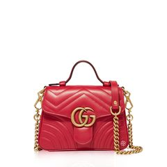Gucci Mini GG Marmont Top Handle Bag in Red GHW