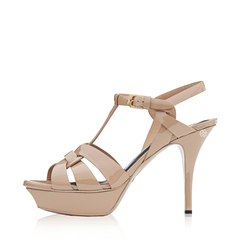 Saint Laurent Tribute 10 cm in Nude Poudre Patent