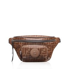 Fendi FF Logo All Over Belt Bag in Brown With FF Logo Patch