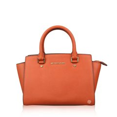 Michael Kors Selma Medium Leather Satchel Orange