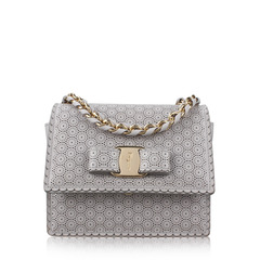 Salvatore Ferragamo Ginny Perforated Bow Crossbody Bag