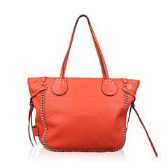 Coach Whiplash Leather Tatum Tote in Gold Coral
