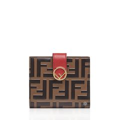 Fendi Bifold Brown Red Leather Compact Wallet