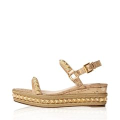 Christian Louboutin Pyradiams 60 Spiked Lamé Wedge Sandals in Gold