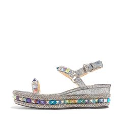 Christian Louboutin Pyraclou 60 spiked metallic cracked-leather wedge sandals