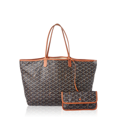 Goyard ST Louis PM Chevron Black Tan Bag
