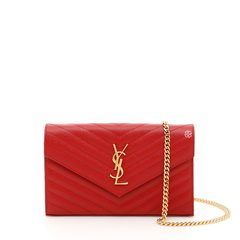 Saint Laurent Monogram Chain Wallet Red 22 cm