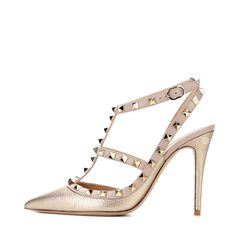 Valentino Rockstud Heel Light Gold Grained