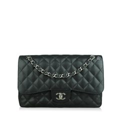 Chanel Black Caviar Flap Bag Silver Chain Strap