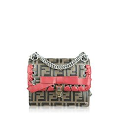 Fendi Small Kan I  FF Embossed Bag with Ribbon