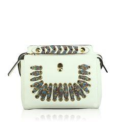Fendi Small Dotcom Woven Bag in White