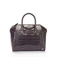 GivenchySmall Antigona Bag in Storm Grey Croco Stamped Leather