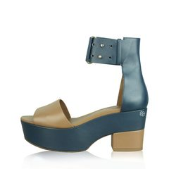 Hermes Blue Leather Strap with Brown Heel