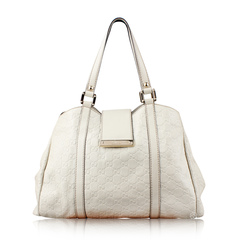 Gucci White Leather Tote Bag