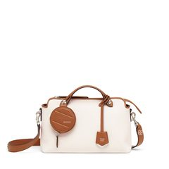 FendiSmall By The Way in White Canvas/Beige with Round Pouch