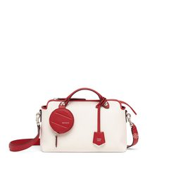 FendiSmall By The Way in White Canvas/Red with Round Pouch