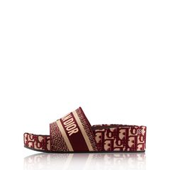 Christian DiorDway Embroidered Slides 50mm in Burgundy