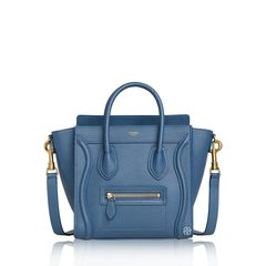 CelineNano Luggage Bag in Petrol Blue Grained