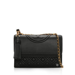Tory BurchSmall Fleming Shoulder Bag in Black GHW with Tassels