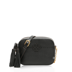 Tory Burch	McGraw Camera Bag in Black Grained Leather with Tassels