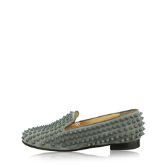 Christian LouboutinRolling Spikes Studded Suede Slippers